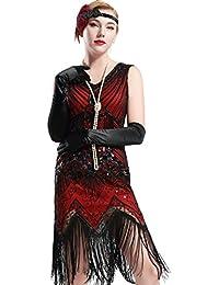 BABEYOND Damen Flapper Kleider voller Pailletten Retro 1920er Jahre Stil V-Ausschnitt Great Gatsby Motto Party Damen Kostüm Kleid