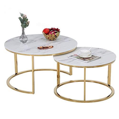 YWT 2 Stück Couchtisch, Kunstmarmor und Goldrahmen, rundes modernes Design, stapelbar, hochwertige Möbel für Wohnzimmer, Büro,White (Faux-marmor-küche-tisch-set)