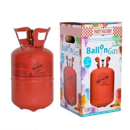 Party Factory Helium Ballongas für 50 Luftballons Set Einwegzylinder (Pfandfrei) und Füllventil