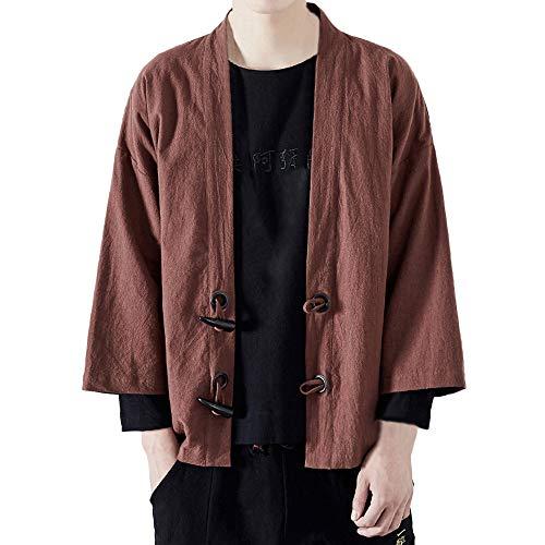 Fanxing Herren Jacke Japanischer Yukata Mantel Kimono Outwear Baumwolle Vintage Lose Top (L, Kaffee) -
