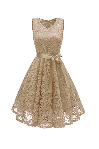 GREMMI Women Lace Dress Vintage A Line Evening Dress Party Swing Dress Wedding Occasion Cocktail Dresses with Belt