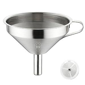 jiele Küche Trichter --Küche aus rostfreiem Edelstahl Trichter mit abnehmbarem Sieb und Griff für Kochen Öle, die Übertragung von Liquid, Fluid, Puder und der Jam (12,7 cm, silber)