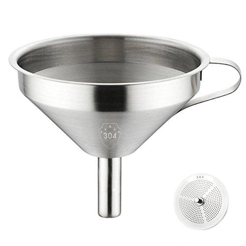 jiele Küche Trichter –-Küche aus rostfreiem Edelstahl Trichter mit abnehmbarem Sieb und Griff für Kochen Öle, die Übertragung von Liquid, Fluid, Puder und der Jam (12,7cm, silber)
