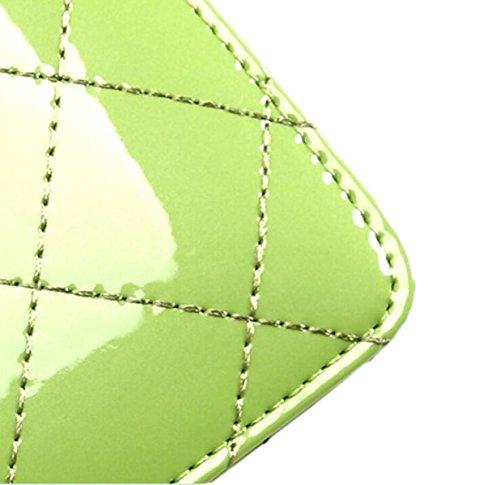 Breve Tratto La Signora Borsa Carina Borsa Di Cuoio Di Modo Sacchetto Del Telefono Mobile Cerniera Pacchetto Di Piccole Sottile Green2