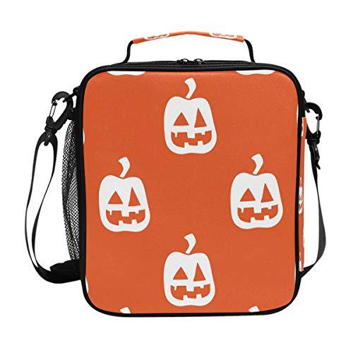 DEZIRO Kühltasche für Mittagessen, Halloween, Kürbis mit orangefarbenem Hintergrund
