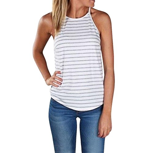 Tank Top Sleeveless Bluse (N.Life Nlife Frauen Sexy Fashion Stripe Ärmelloses Shirt Tanks Tops Camis Tee Bluse)