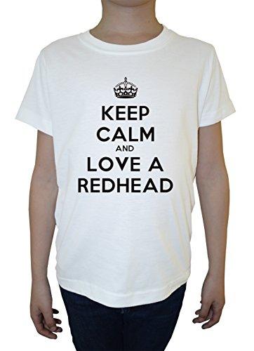 keep-calm-and-love-a-redhead-blanc-coton-garcon-enfants-t-shirt-col-ras-du-cou-manches-courtes-white