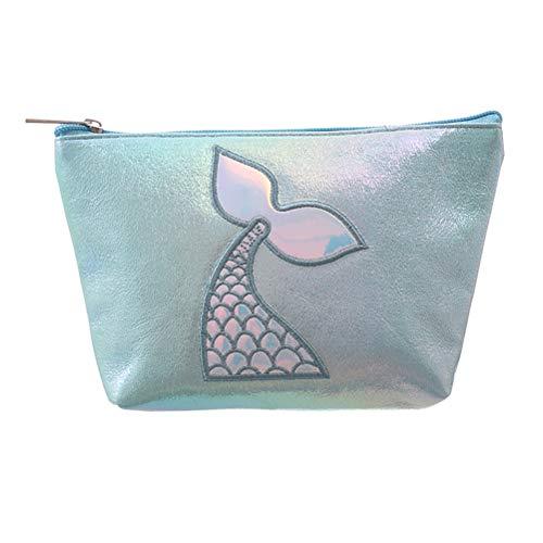 TENDYCOCO Kulturbeutel Mermaid Tail Kosmetiktasche Make-up Bag Organizer PU Leder für Frauen -