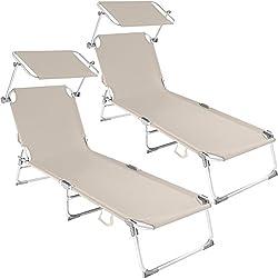 TecTake Lot de 2 chaise longue bain de soleil en aluminium pliable avec parasol pare soleil - diverses couleurs au choix - (Beige | no. 401551)