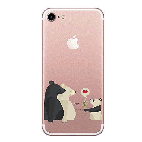 iPhone 7 Hülle Wouier® TPU Silikon Abdeckung Schutzhülle Transparent Case Klar Schutzhülle Cover Karikatur Tier Case für iPhone 7 4.7 Zoll (iPhone 7, Animal 01) (3006 Tasche)