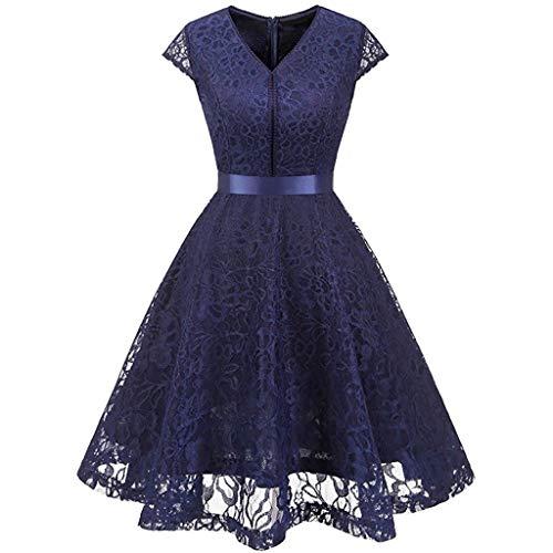 Covermason Damen Elegant Kleider Spitzenkleid Langarm Cocktailkleid Knielang Rockabilly Kleid Spitze