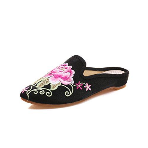 YIBLBOX Damen Mary Jane Halbschuhe Hausschuhe Retro Tuch Chinesisch Schuhe mit Blumen Gr.35-43 Halbschuhe Hausschuhe