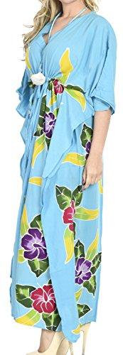La Leela Bademode Badebekleidung Rayon Abend aloha Nachtzeug Kaftan loses Kleid der Frauen Türkis 1