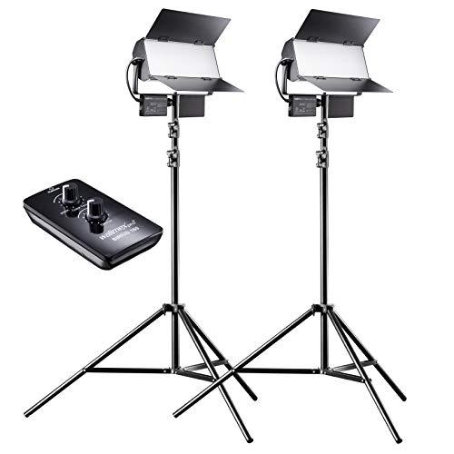 walimex pro LED Sirius 160 Bi Color Set mit Stativ und Fernbedienung, Flächenleuchte, Studioleuchte, 65 Watt, 6000 Lumen