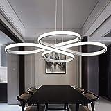 60W LED Modern Design Kreative Einfach Kunst Klassisch Pendelleuchte Weiß Acryl Aluminium Höhenverstellbar Hängeleuchte Wohnzimmer Esszimmer Studie Hängelampe (Dimmbar Stufenlos) L58cm