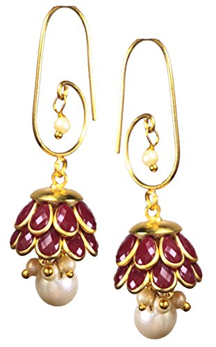 Shimmer's Gold Elegance Dangle and Drop Earrings with White Pearls for Women, Girls