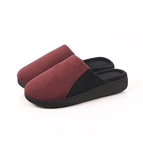 En automne et en hiver, maison pantoufles, femmes, coton, doux, confortable, chaud, insipide, peluche, semelle épaisse, anti-dérapant wine red