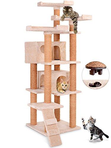 Leopet Katzenkratzbaum Katzenzubehör Kratzbaum ca. 163 cm Hoch mit Zwei Großen Höhlen mit Quick-Connect Verbindung - Farbwahl
