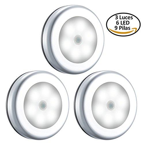 Foto de Luz Sensor de Movimiento, VICTSING Luces para Armarios Sin Cable, Luz LED Nocturna con Pilas, Lámpara con Sensor al Tacto, Luces de Noche para Armario, Habitación, Pasillos, Escaleras, Coche y Más (Lleva 9 Pilas, Blanca)