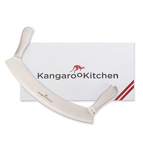KangarooKitchen Premium Pizzamesser beidseitig geschliffene 30cm Klinge mit Edelstahlgriffen | 2 Jahre Zufriedenheitsgarantie | Wiegemesser / Pizzaschneider