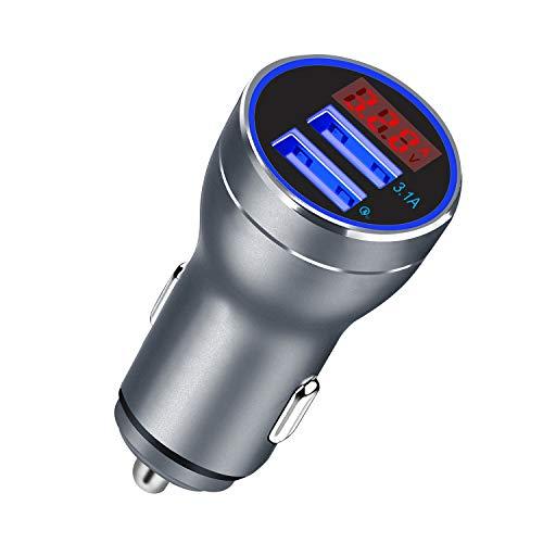 VOIMAKAS Quick Charge 3.0 Caricabatteria auto, Adattatore di ricarica per auto Dual USB con voltmetro digitale a LED per iPhone, iPad, Tablet, Altri dispositivi iOS e Android Smartpho