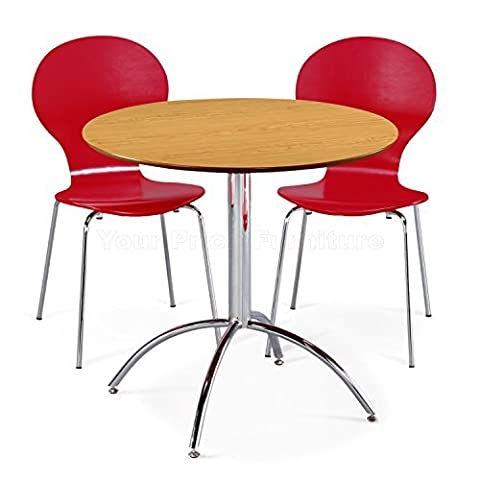 Kimberley Dining Set Natural Table and 2 Red Chrome Metal Keeler Style Stackable Dining Chairs - Kitchen Cafe Bistro Chairs & Small Round Table by Your Price Furniture
