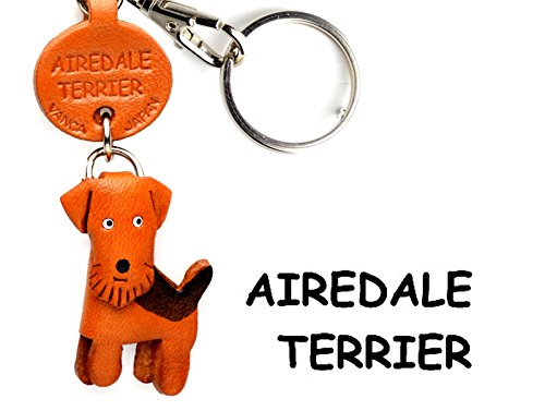 Airedale Terrier Leather Dog Small Keychain VANCA CRAFT-Collectible keyring Made in Japan by VANCA