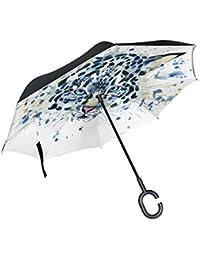 jstel doble capa puede Watercolor Tiger Paraguas coches Reverse resistente al viento lluvia paraguas para coche