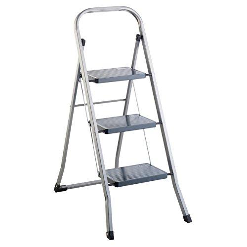 COSTWAY Trittleiter Klapptritt wei/ß Stehleiter klappbar 2-Stufen-Trittleiter Haushaltsleiter Stufenleiter platzsparend Metall Stufenstehleiter 150 kg Tragkraft