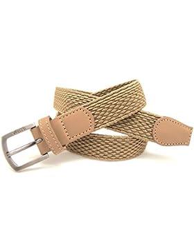 VAELLO Cinturón niño trenzado elástico con puntera piel ancho 25mm, para niño