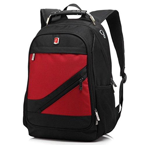 F@Neue Laptop-Handtasche Business-Paket, 15-Zoll-Laptop-Tasche lässig Rucksack, Schüler Rucksack Red