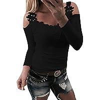 VJGOAL Mujer Otoño e Invierno Moda Casual Color sólido Borde de Encaje sin Tirantes Tirantes del