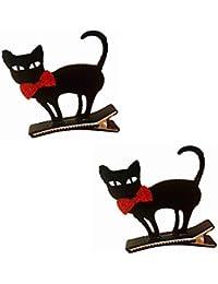 Kanggest.2 Piezas Horquillas Halloween Gato Negro Clips de Pelo Cute Headwear Snap Pasador Pelo para Mujeres niños Pinza de Pelo Tridimensional