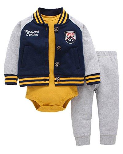 Kidsform Unisex Baby Outfit Set Body Romper Baumwolle bodysuit 3 Pack Hoodie Hosen Jacke jumpsuit Navy 12M