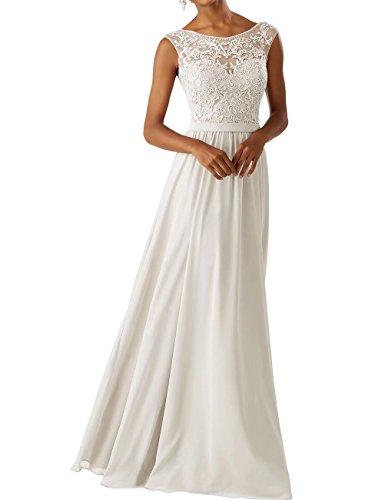 Frauen Chiffon Brautjungfer Kleider Sleeveless Lange Prom Abendkleider Elfenbein Größe 42