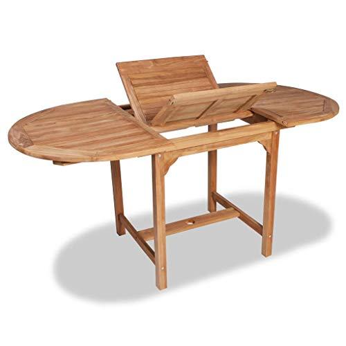 vidaXL Teck Table Extensible à Dîner Jardin Ovale Table d'Extérieur Terrasse