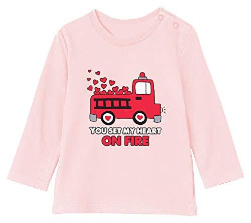St Valentin Set My Heart on Fire - Naissance T-Shirt Bébé Unisex Manches Longues 3-6M 60/66cm Rose Pale