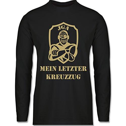 Shirtracer JGA Junggesellenabschied - Mein Letzter Kreuzzug - Herren Langarmshirt Schwarz
