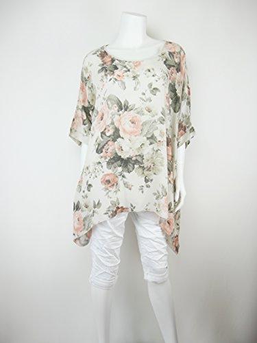 leichte und luftige oversize Bluse KimonoStil Blumen Muster Zipfel 42 44 46  48 L XL 2XL 8152 Hellbeige