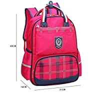 OPJKZSA Fashion Plaid Printed School Backpack for Teens Boy And Girl Nylon School Bags Red,hot pink,One Size