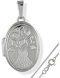 Anhänger Medaillon Lebensbaum 925 Silber zum öffnen/Bildeinlage mit Kette
