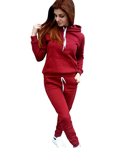 Sentao Abbigliamento Sportivo Felpa Donna Autunno Maglie a manica lunga Pantaloni Tute da ginnastica Abbigliamento Sportivo Tuta Jogging Rosso