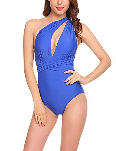 Meaneor_Fashion_Origin Bikini Damen Badeanzug mädchen Neckholder Swimsuit Neu Fashion Schwimmanzug Einteiler Bademode Schalen Schlankheits Badeanzug KönigsblauA