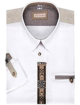 OS Trachten Moser Trachten Trachtenhemd Langarm Weiß-Natur mit Applikationen 112309 von, Material Baumwolle, Liegekragen