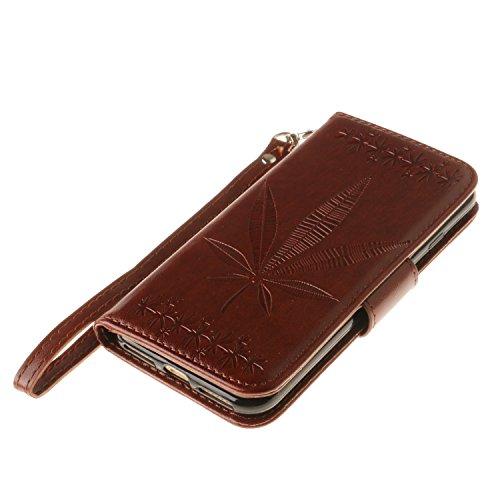 iPhone Case Cover IPhone 7 cas couvrir double face gaufrage fleurs de haute qualité Flip Stand PU cas en cuir avec Lanyard Wallet & Card Cash Slots ( Color : Rose , Size : IPhone 7 ) Brown