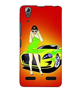 Fuson Designer Back Case Cover for Lenovo A6000 :: Lenovo A6000 Plus :: Lenovo A6000+ (A lady with the car theme)