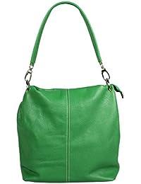 attractive verde bolso de mano de cuero sobre el hombro Fiora Verde Scura