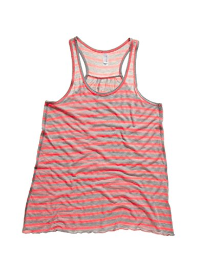 Bella + Canvas Bauch Racer Back Tank Top Athletic Heather/ Neon Pink (Heather Racer Tank)