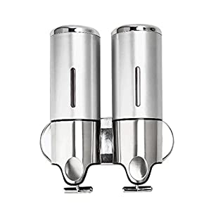 ebilun 500ml/17oz doble bomba de ducha champú dispensador de jabón líquido montado en la pared dispensador de jabón para baño de acero inoxidable, color plateado
