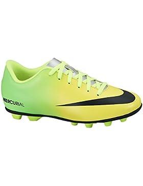 Nueva Boy Jr Mercurial Vortex FG-R Tacos de fútbol amarillo / cal / negro 1,5
